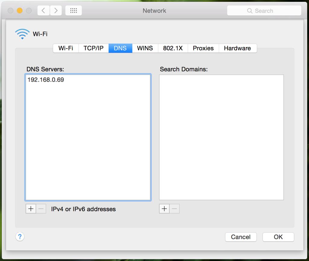 Set DNS server on OS X